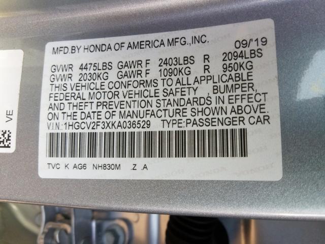 2019 Honda ACCORD | Vin: 1HGCV2F3XKA036529