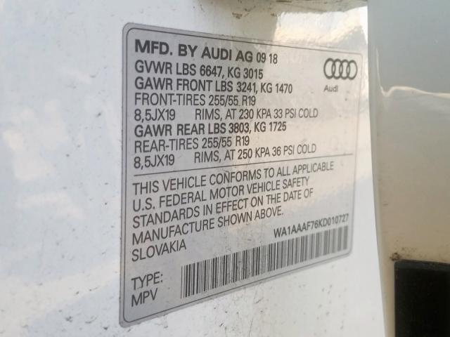 2019 Audi Q7 PREMIUM   Vin: WA1AAAF76KD010727