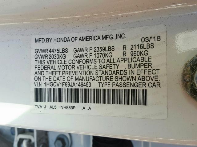 2018 Honda ACCORD | Vin: 1HGCV1F99JA146453