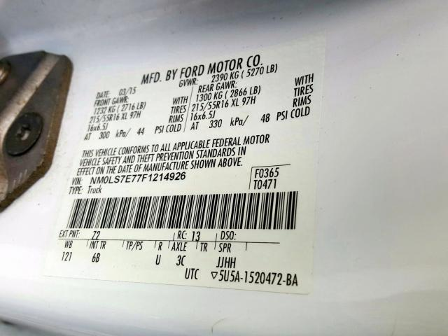 NM0LS7E77F1214926 2015 FORD TRANSIT CONNECT XL