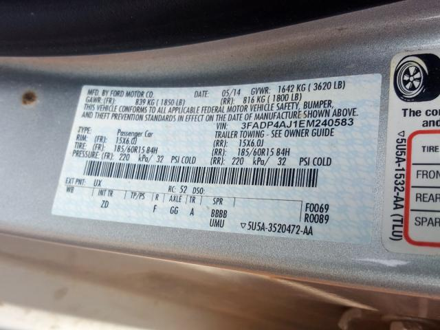 2014 Ford    Vin: 3FADP4AJ1EM240583