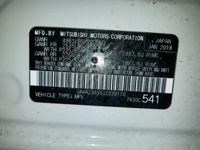 2018 Mitsubishi OUTLANDER | Vin: JA4AZ3A38JZ039110