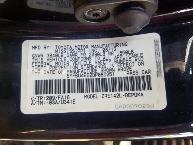 2013 Toyota  | Vin: 5YFBU4EE2DP085251