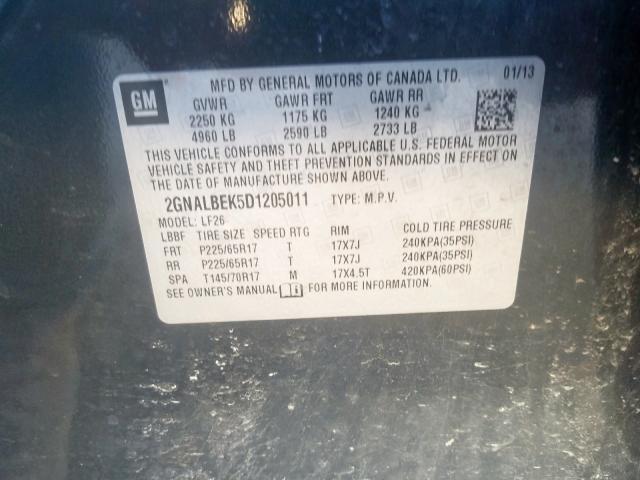 2013 Chevrolet  | Vin: 2GNALBEK5D1205011
