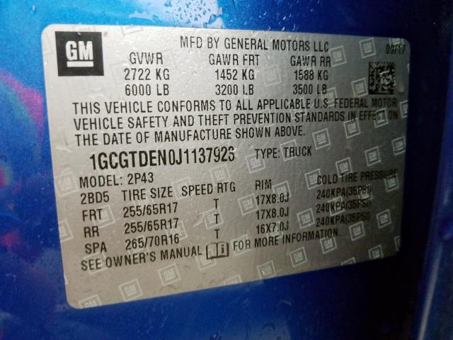 2018 Chevrolet  | Vin: 1GCGTDEN0J1137923