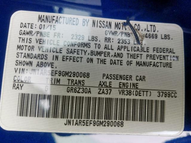 2016 Nissan    Vin: JN1AR5EF9GM290068