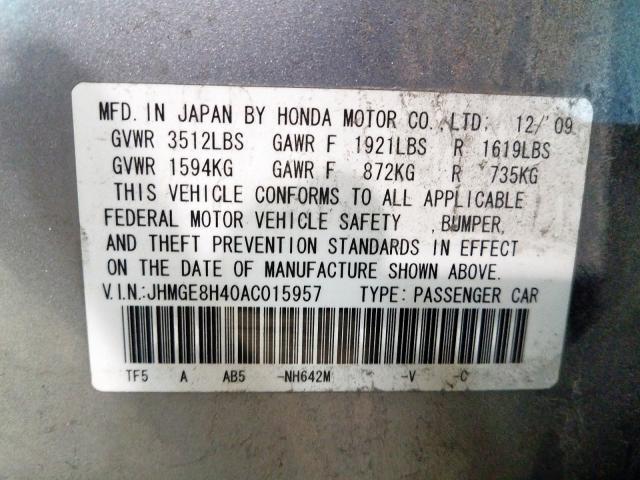 2010 Honda FIT | Vin: JHMGE8H40AC015957