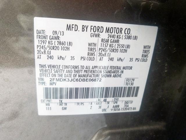 2013 Ford    Vin: 2FMDK3JC6DBE06872