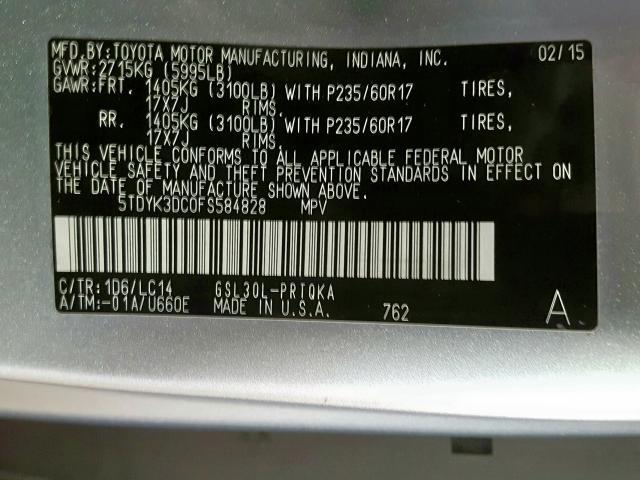 2015 Toyota SIENNA | Vin: 5TDYK3DC0FS584828