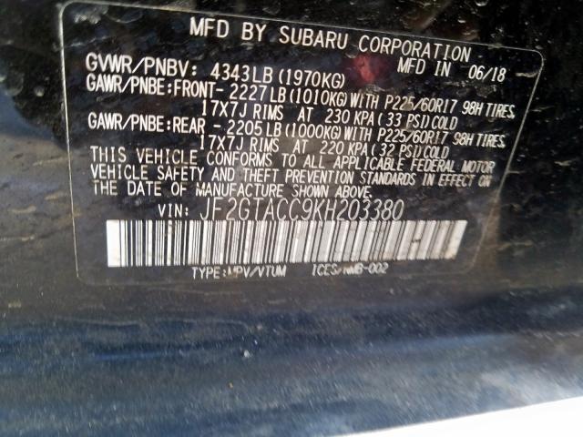 2019 Subaru CROSSTREK | Vin: JF2GTACC9KH203380