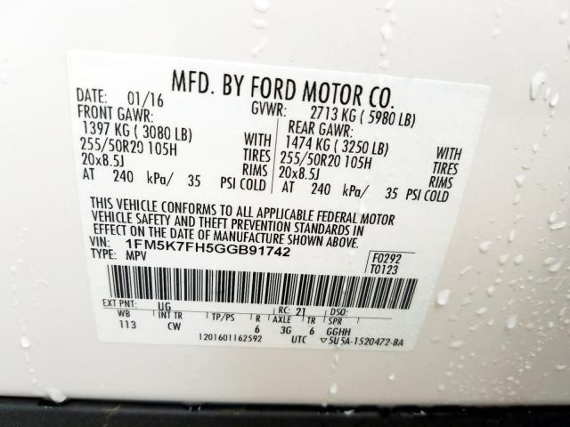 2016 Ford EXPLORER | Vin: 1FM5K7FH5GGB91742