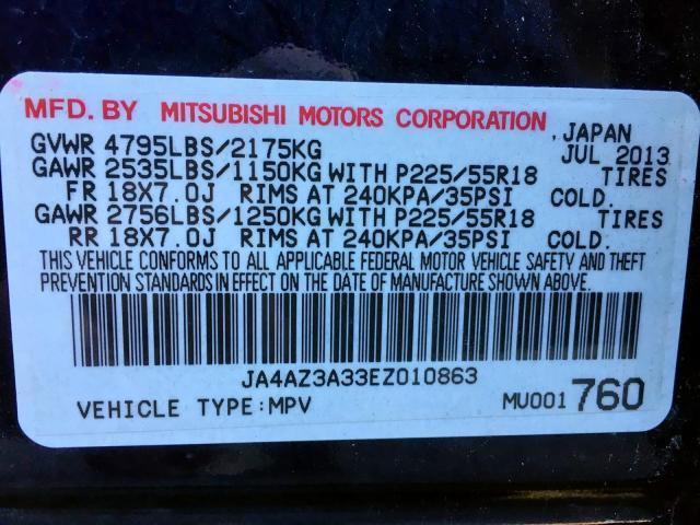 JA4AZ3A33EZ010863 - 2014 Mitsubishi Outlander 2.4L