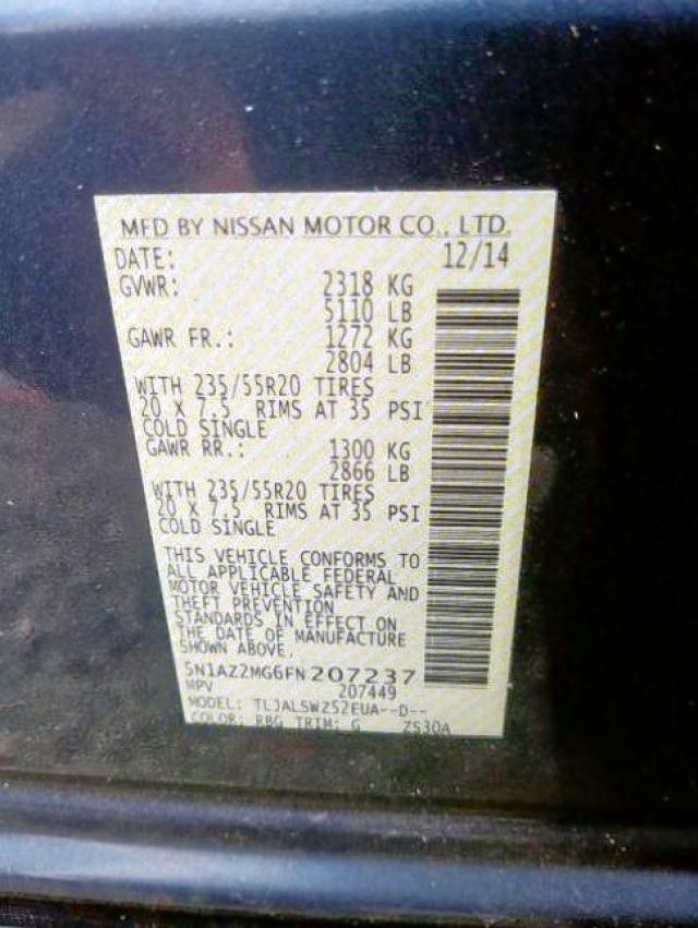 5N1AZ2MG6FN207237 2015 NISSAN MURANO S