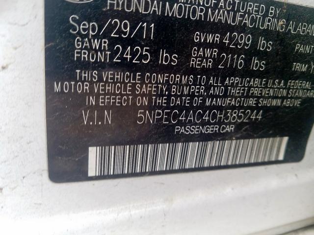 5NPEC4AC4CH385244 2012 HYUNDAI SONATA SE