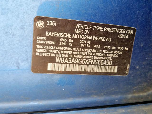 WBA3A9G5XFNS66490 2015 BMW 335 I
