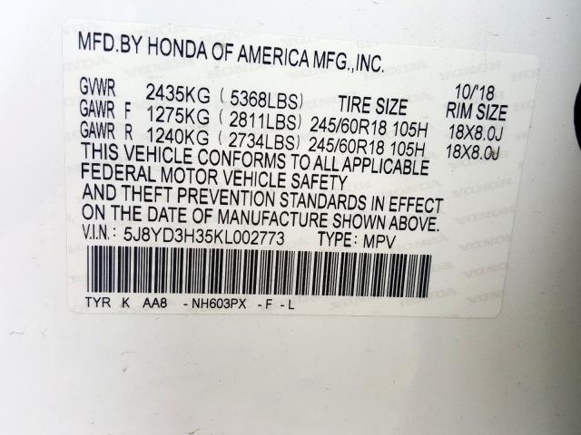 2019 Acura MDX | Vin: 5J8YD3H35KL002773