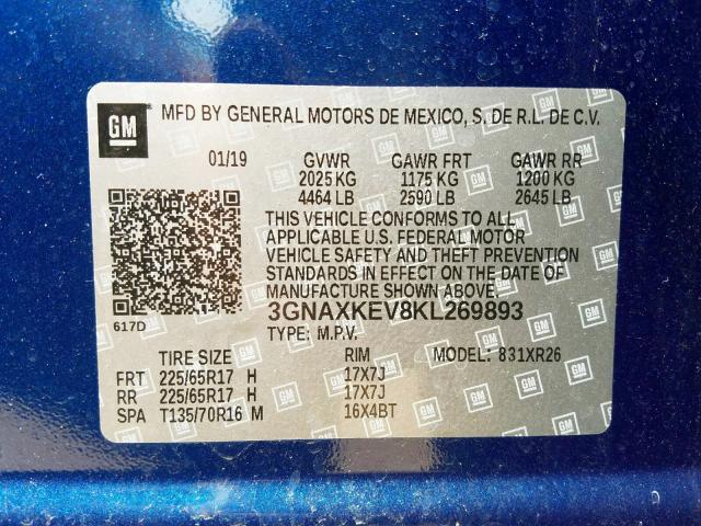 2019 Chevrolet EQUINOX   Vin: 3GNAXKEV8KL269893
