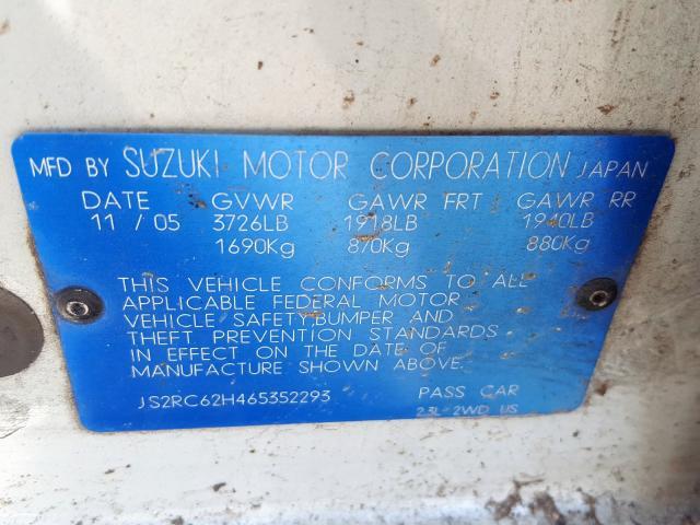 2006 SUZUKI AERIO, JS2RC62H465352293 - 10