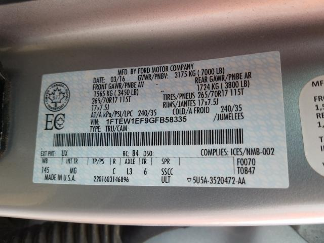 1FTEW1EF9GFB58335 2016 FORD F150 SUPERCREW