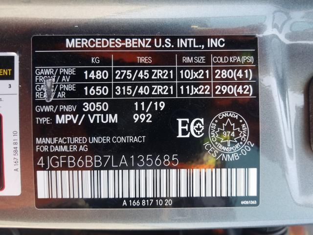 2020 Mercedes-Benz GLE | Vin: 4JGFB6BB7LA135685