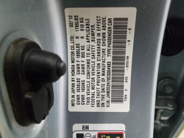 JHMZE2H70CS004983 2012 HONDA INSIGHT EX