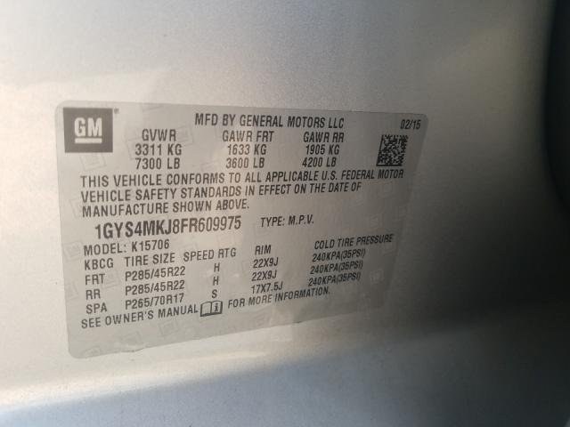 1GYS4MKJ8FR609975 2015 CADILLAC ESCALADE LUXURY