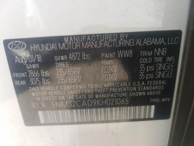5NMS2CAD9KH021065 2019 HYUNDAI SANTA FE SE