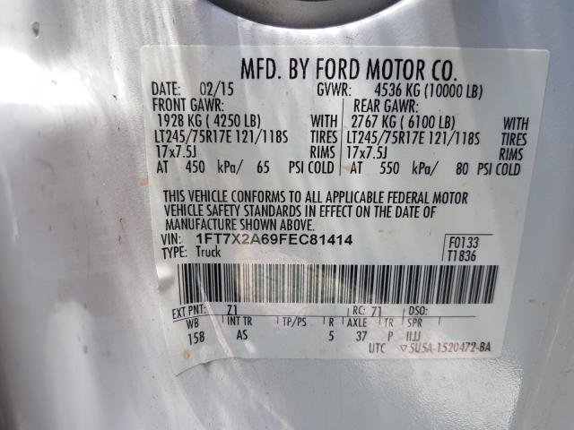 1FT7X2A69FEC81414 2015 FORD F250 SUPER DUTY