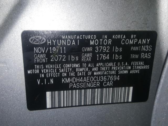 KMHDH4AE0CU367694 2012 HYUNDAI ELANTRA GLS