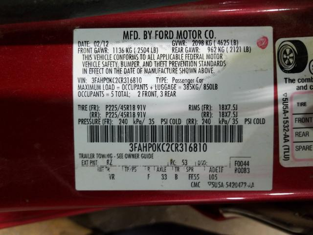 3FAHP0KC2CR316810 2012 FORD FUSION SPORT