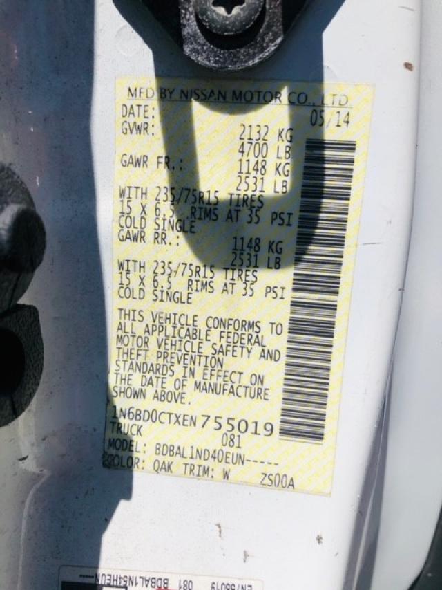 1N6BD0CTXEN755019 - 2014 Nissan Frontier S 2.5L