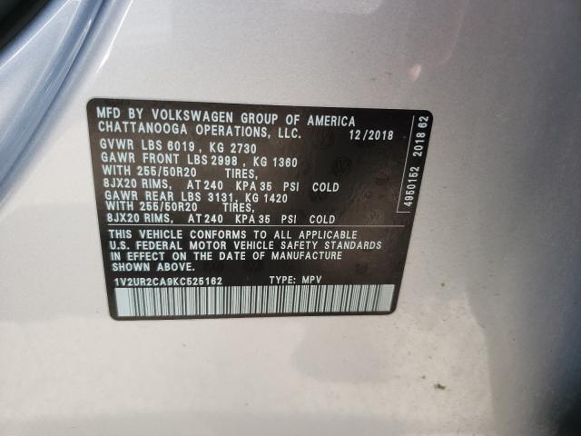 2019 Volkswagen ATLAS | Vin: 1V2UR2CA9KC525162