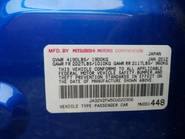 JA32V2FW5CU020306 2012 MITSUBISHI LANCER SE