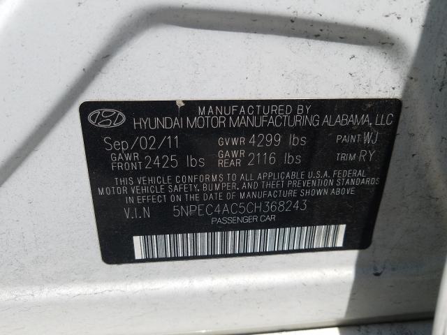 2012 HYUNDAI SONATA SE 5NPEC4AC5CH368243
