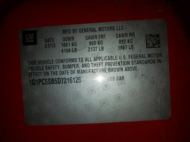 1G1PC5SB5D7216126 2013 CHEVROLET CRUZE LT