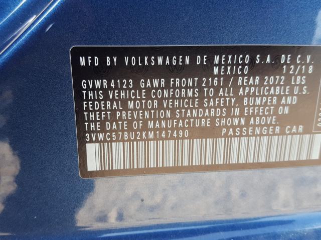 3VWC57BU2KM147490 2019 VOLKSWAGEN JETTA S