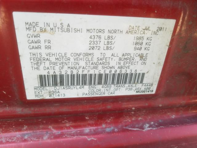 2012 MITSUBISHI GALANT FE 4A32B2FF1CE006338