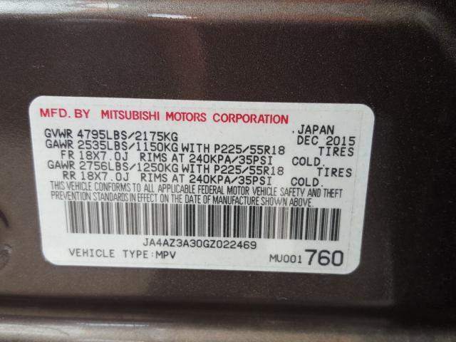 2016 Mitsubishi OUTLANDER | Vin: JA4AZ3A30GZ022469