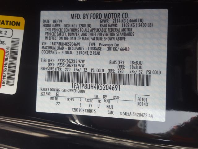 1FATP8UH4K5204691 2019 FORD MUSTANG