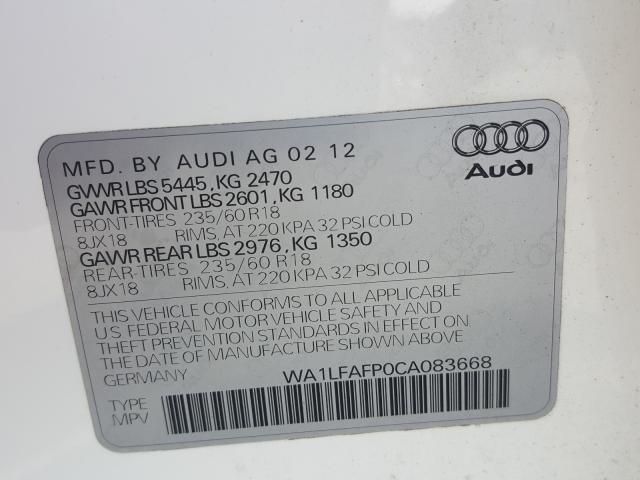 WA1LFAFP0CA083668 2012 AUDI Q5 PREMIUM PLUS
