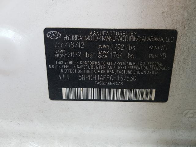 5NPDH4AE6CH137530 2012 HYUNDAI ELANTRA GLS