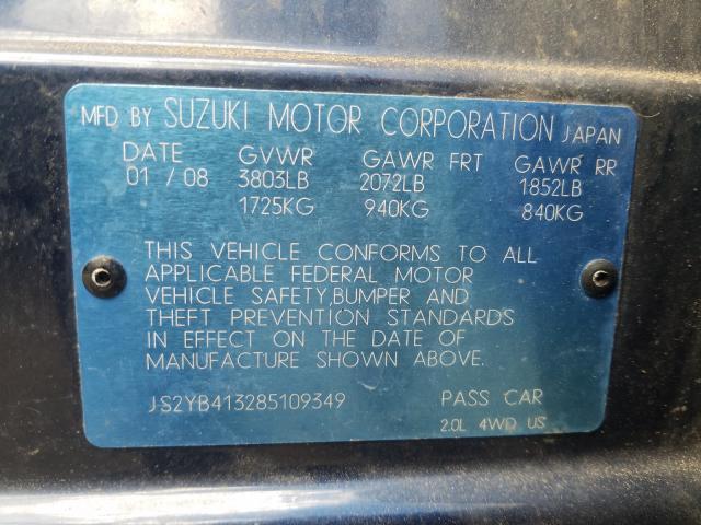 2008 Suzuki SX4   Vin: JS2YB413285109349