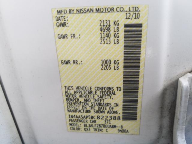 2011 NISSAN MAXIMA S 1N4AA5AP5BC822388