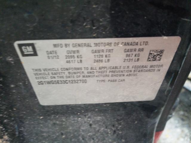 2G1WG5E33C1232700 2012 CHEVROLET IMPALA LT