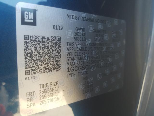 1GCGSCEN6K1231254 2019 CHEVROLET COLORADO LT