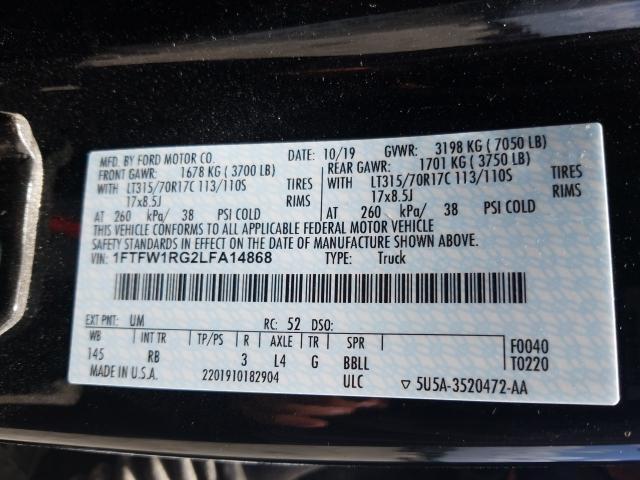 2020 Ford F150   Vin: 1FTFW1RG2LFA14868