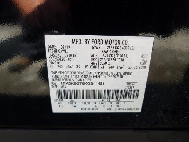 1FM5K8GT6KGB41451 2019 FORD EXPLORER SPORT