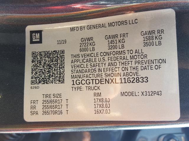 1GCGTDENXL1162833 2020 CHEVROLET COLORADO Z71