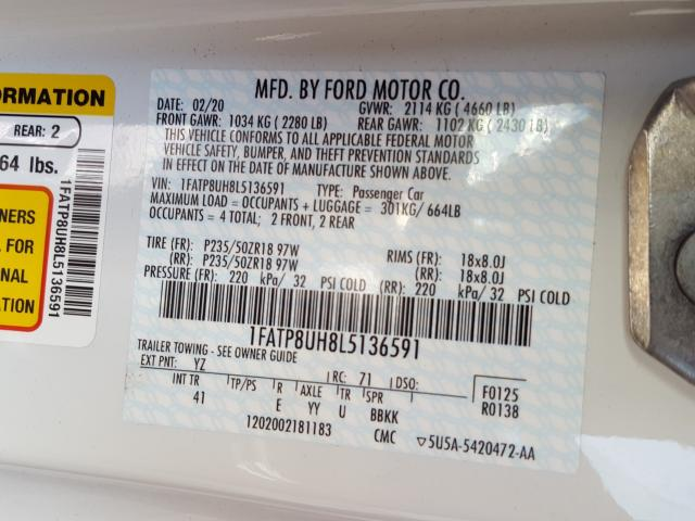 1FATP8UH8L5136591 2020 FORD MUSTANG