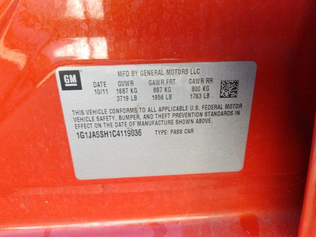 2012 CHEVROLET SONIC LS 1G1JA5SH1C4119036